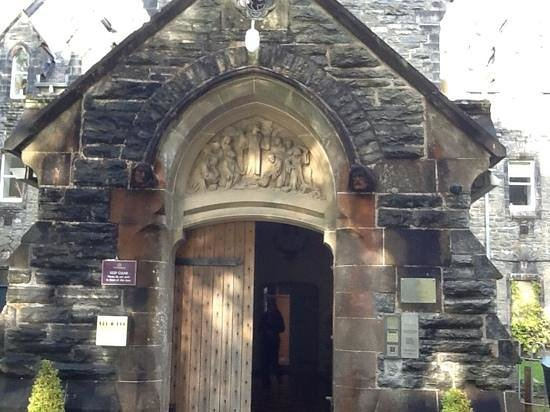 The Bothy Restaurant and Bar: doorway to nearby Benedictine abbey, now a time-share.