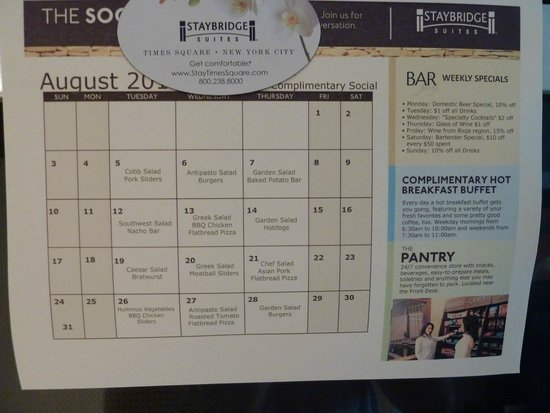 Staybridge Suites Times Square - New York City : Happy Hour offerings