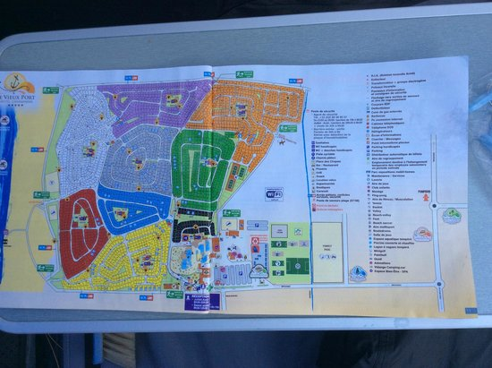 Site map and legend picture of camping le vieux port - Camping le vieux port plage sud messanges france ...