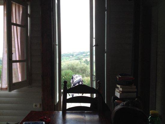 Campsite Rocca di Sotto: View  from wooden cabin, vista dal bungalow