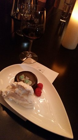 The Inn at Vineyards Crossing: Chocalte Ganache Cake w/ Hickory Syrup Whipped Cream