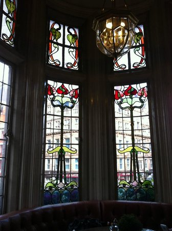 The Wellington: Stained glass window inside