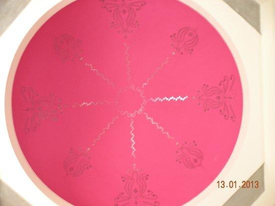 Tree of Life Resort & Spa Jaipur : Ceiling of Washroom a Huge Pink Dome