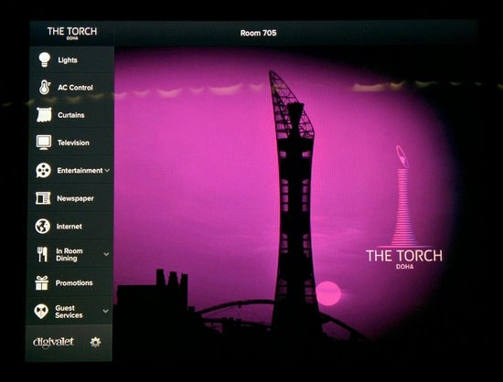 The Torch Doha : The iPad menu that allows you to control the room :)