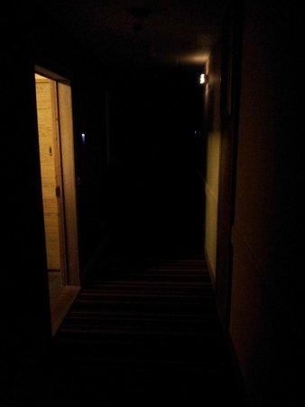 Pierre & Vacances Premium Résidence Les Terrasses d'Eos : Couloir non éclairé dans l'ensemble de l'étage 5 pendant tout le séjour