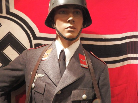 The Channel Islands Military Museum: Luftwaffe uniform and M36 steel helmet?  Not sure if it is a replica
