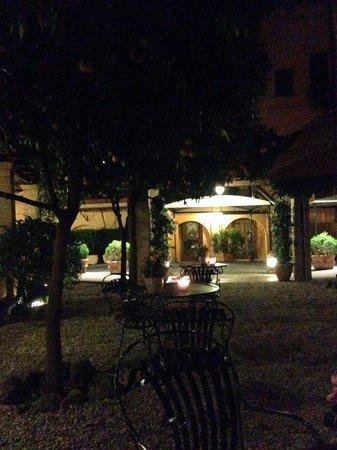 August 2014- Hotel Santa Maria, evening drinks under the orange trees