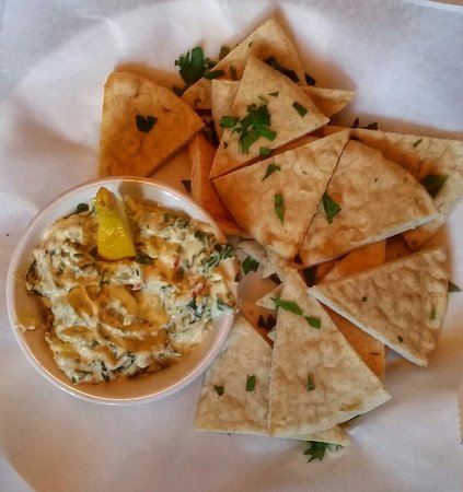 L.May Eatery: Artichoke and Spinach Dip with Pita Bread