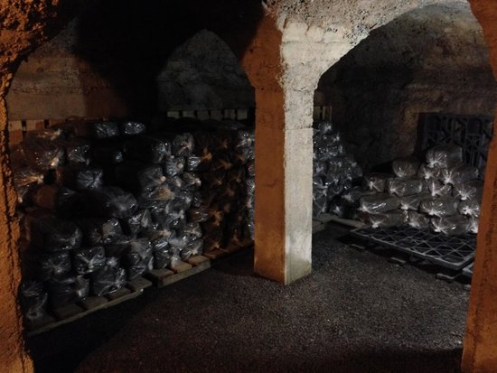 Moravian Pottery and Tile Works: Bags of clay in the cellar