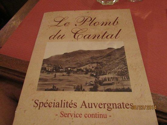 Le Plomb du Cantal: menu