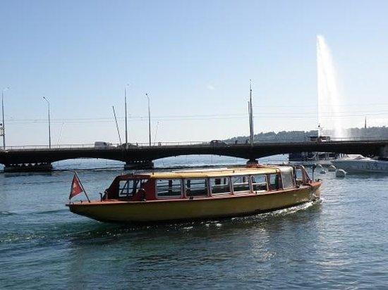 Lac Léman (Lac de Genève) : フェリーと噴水