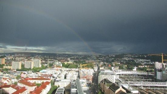 Radisson Blu Plaza Hotel, Oslo: View from room (with rainbow)