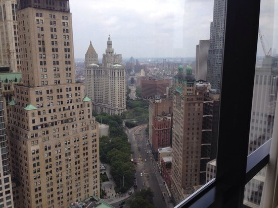 Millenium Hilton: View of City Hall, the East River, and Brooklyn Bridge from the room