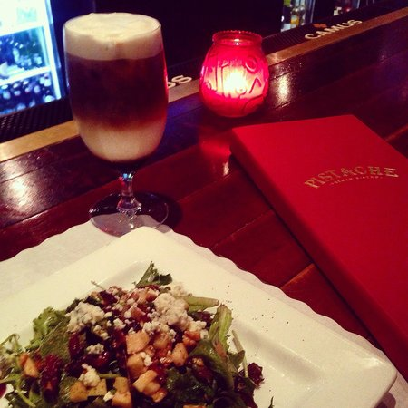 Pistache French Bistro : Bleu cheese, apple, walnut salad with a stacked, iced latte made by the best bartender, Shawn!