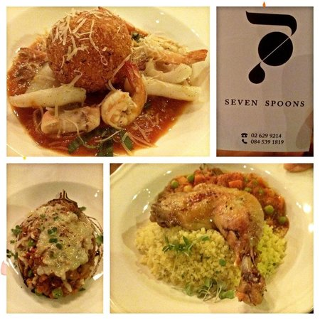 Seven Spoons Bar and Restaurant: Risotto ball, tagine and aubergine