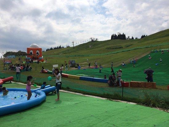 Mt. Hakodate: 遊具目当ての家族連れで賑わっています。