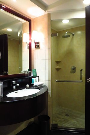 The Bellevue Manila: Sink and shower area