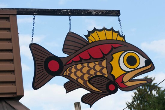 Rock Cod Cafe: Hanging Rock Cod sign