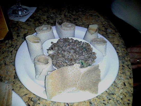 Nile Ethiopian Restaurant: Azifa: lentils with onions, green pepper and lemon juice.