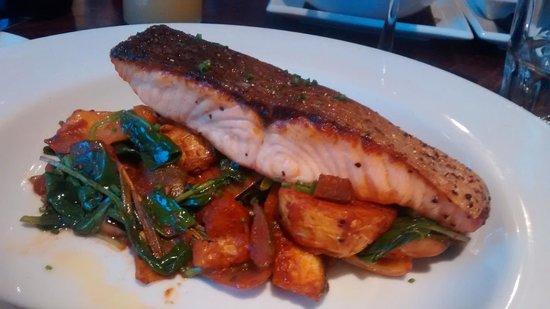 Greens Restaurant & Bar: Salmon fillet with Provençal potatoes and watercress
