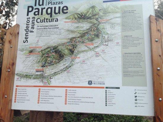Cerro San Cristóbal: Mapa do parque
