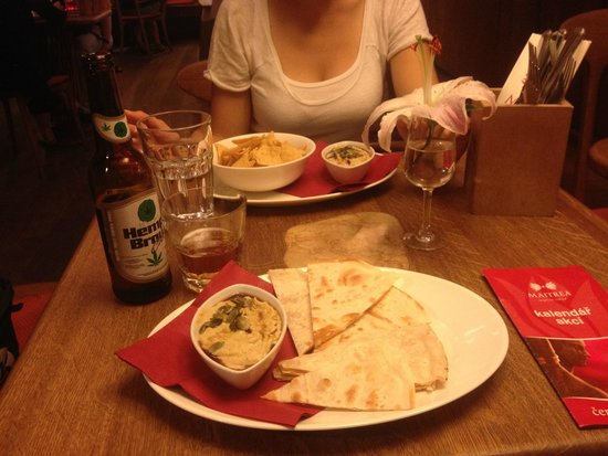 Maitrea: Traditional hummus with a drop of pumpkin oil, served with oven-roasted tortilla