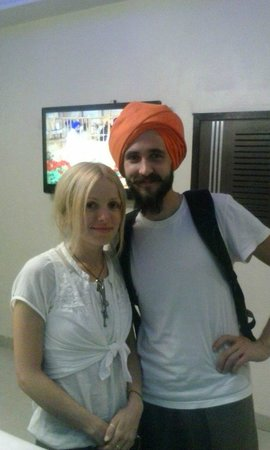 Hotel Darbar View : Our Russian guest wearing a Sikh Turban to vist the Holy Golden Temple... Respect...