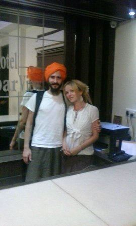 Hotel Darbar View: Our Russian guest wearing a Sikh Turban to vist the Holy Golden Temple... Respect...