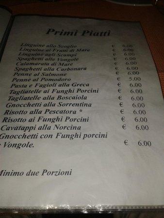 Caiazzo, Italy: Il Menu, veramente interessante.