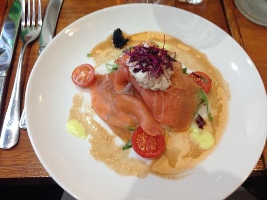 Fanny Trollope's: smoked salmon with crab and caviar starter - devine!