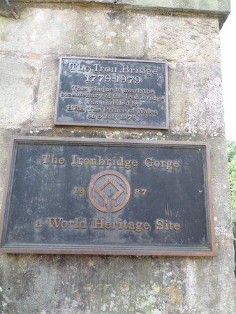 The Iron Bridge and Tollhouse: The plaque