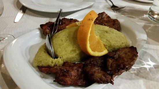 Vinho e Noz: Migas with pork meat (secretos). Delicious! !!!