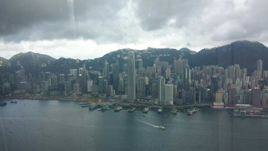 sky100 Hong Kong Observation Deck: View towards Central, Wan Chai and the 2nd highest building in Hong Kong, the IFC.