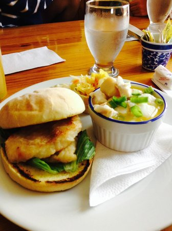 Lavena's Catch Cafe: Halibut Burger & Halibut and Scallop Chowder