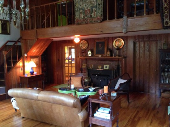 DeForest House: Living room and fireplace.