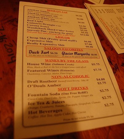 Red Dog Saloon: Drink Menu