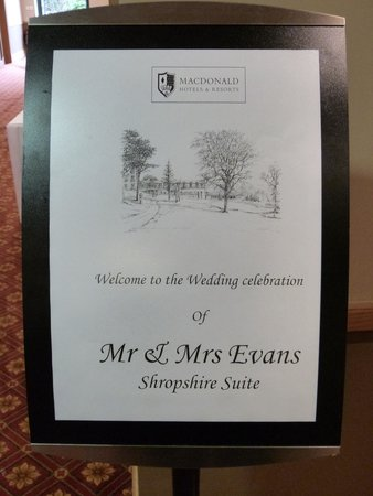 Macdonald Hill Valley Hotel, Golf & Spa: Our wedding sign