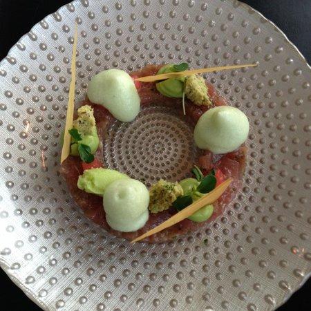 Tonijn met komkommermousse, wasabi-ijs en avocado creme