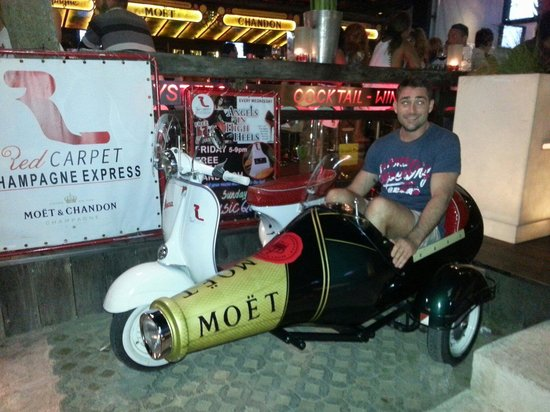 Red Carpet Champagne Bar: Complementary ride home in THIS epic champagne-motorbike!