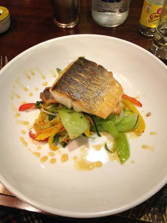 The Duke of Richmond Hotel: Filet of Sea Bass daily special preparation with stir fry vegetables