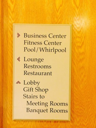 Anchorage Marriott Downtown: Large sign by elevator - after searching & talking to staff - everyone seems baffled - apparentl