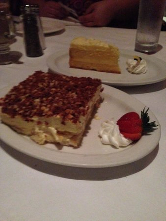 Vito's Chop House: Lemon Cheesecake and Almond Terra mousse!! YUMMY!!
