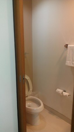 SpringHill Suites Enid: Toilet area with sliding pocket doors.