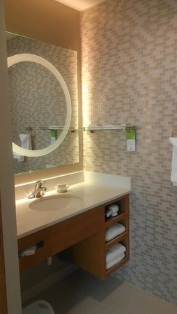 SpringHill Suites Enid: Large Vanity in Shower area.