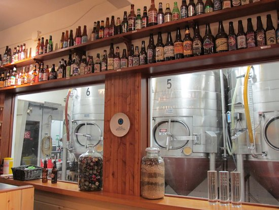 Alaskan Brewery and Bottling Company : Newer tanks, as seen from the tasting room...