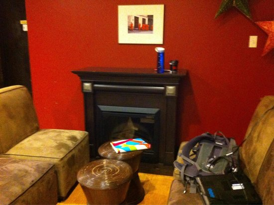 Wired Monk Coffee Bistro- Halifax: Downstairs fireplace