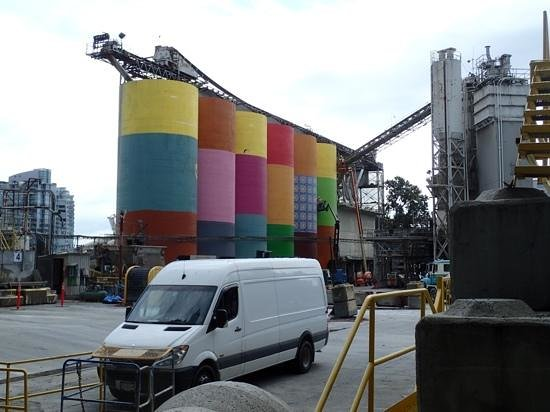 Granville Island: Osgemos, public art on cement silos, early stages