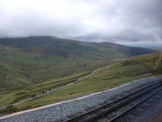 Snowdon Mountain Railway: View across a walkers' path below the railway