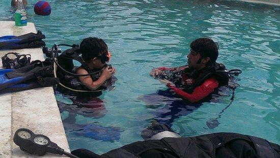 The Westin St. John Resort Villas: Free scuba lessons, just for Lucien!