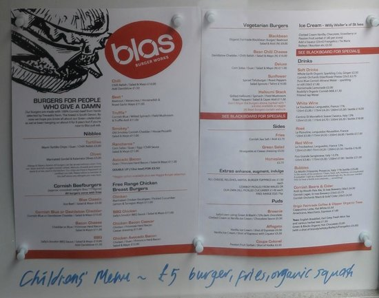 Blas Burgerworks: Fun menu with all the usual suspects and some cheeky specials